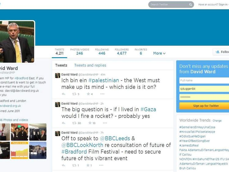 The Israel tweets that were posted on David Ward's Twitter account.