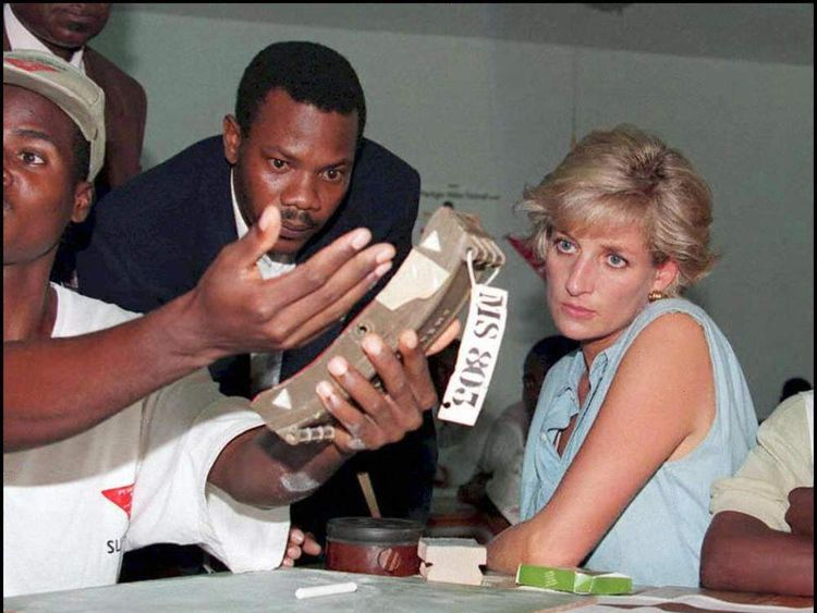 Diana, Princess of Wales, views landmines in Angola