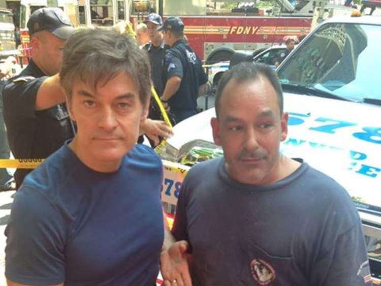 Dr Mehmet Oz and David Justino helped save a British tourist hit by a New York Taxi