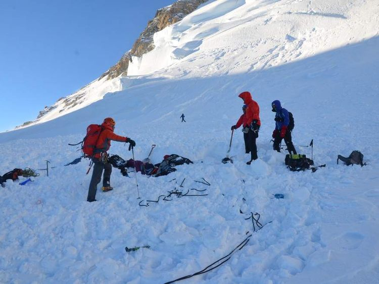 Pictures from French mountain rescue show the rescue operation on Mont Maudit near Mont Blanc in the French Alps, following an avalanche that has killed at least six people.