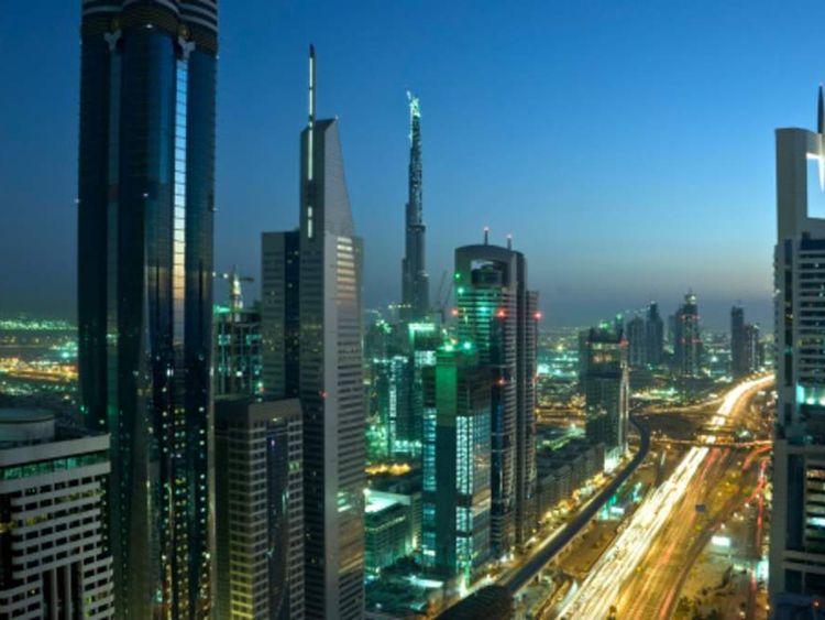 The night skyline of Dubai