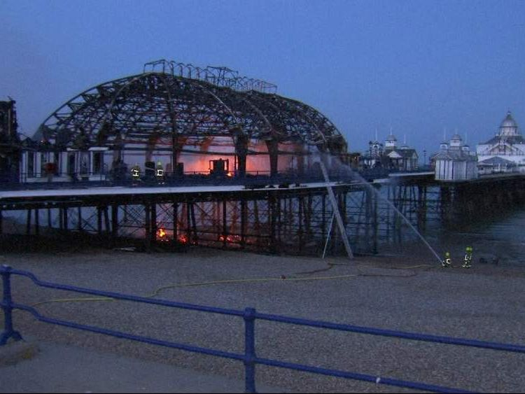 Eastbourne Pier on fire