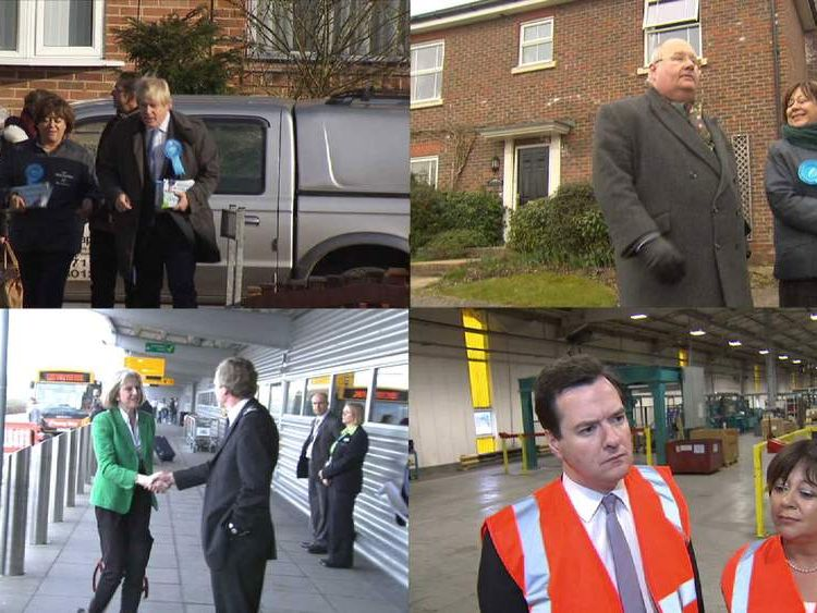 Politicians campaigning in Eastleigh
