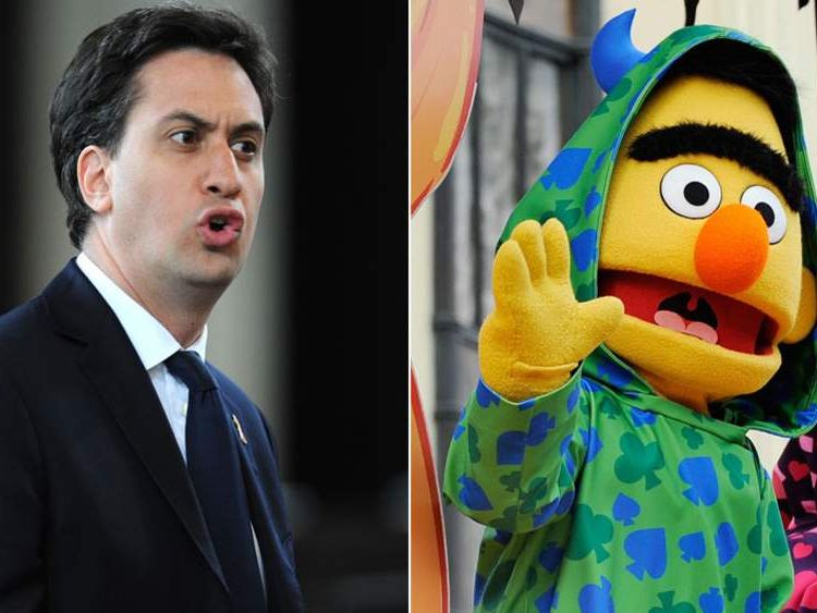 Ed Miliband and Bert from Sesame Street