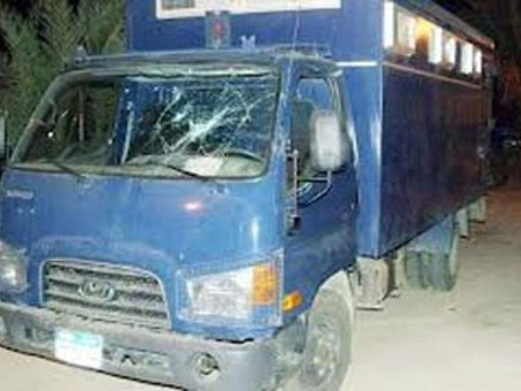 Egypt police van attacked