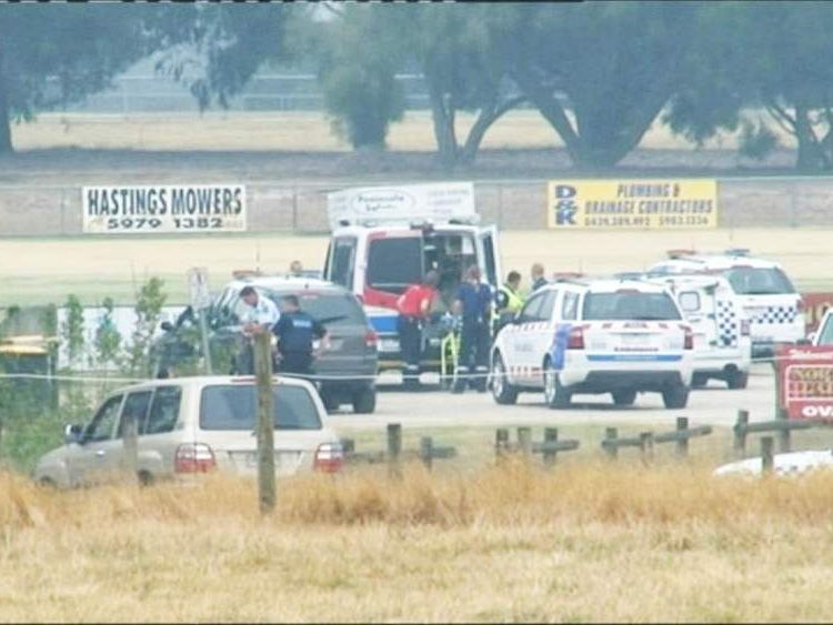 Emergency services at a cricket ground in Melbourne, Australia