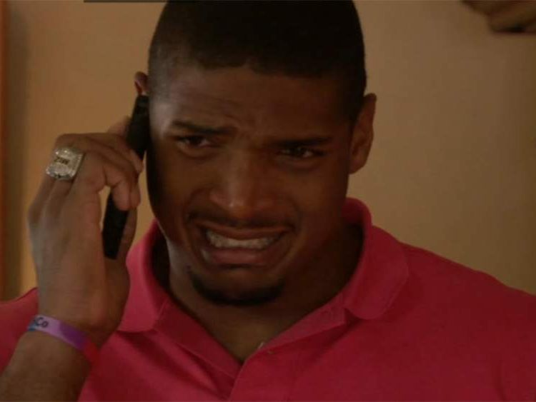 An emotional Michael Sam reacts to the news he has been selected in the NFL Draft.