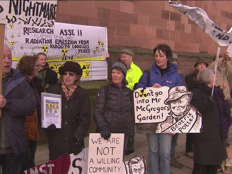 Protesters in Cumbria