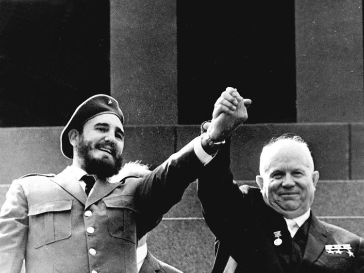 Castro with USSR President Khrushchev on a visit to Moscow in 1963