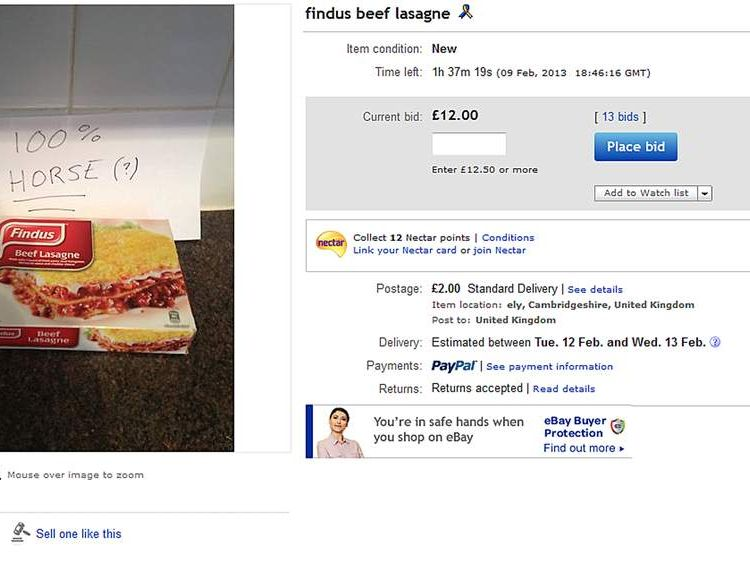 One Findus beef lasagne reached £12 on ebay.co.uk