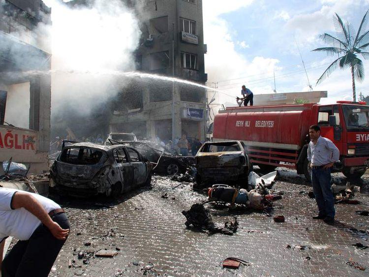 Car bomb explosion on May 11, 2013 near the town hall of Reyhanli, Turkey
