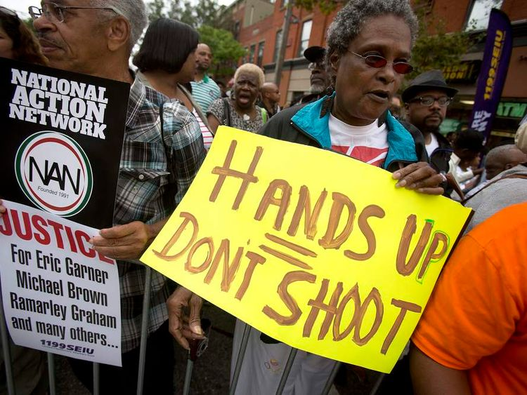 Protesters gather near site Eric Garner was arrested in Staten Island, NYC