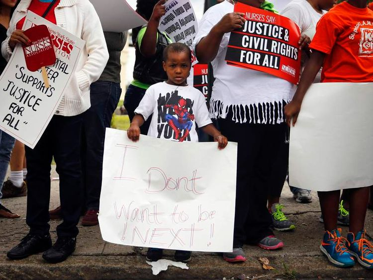 Protesters during the rally for Eric Garner in Staten Island, New York
