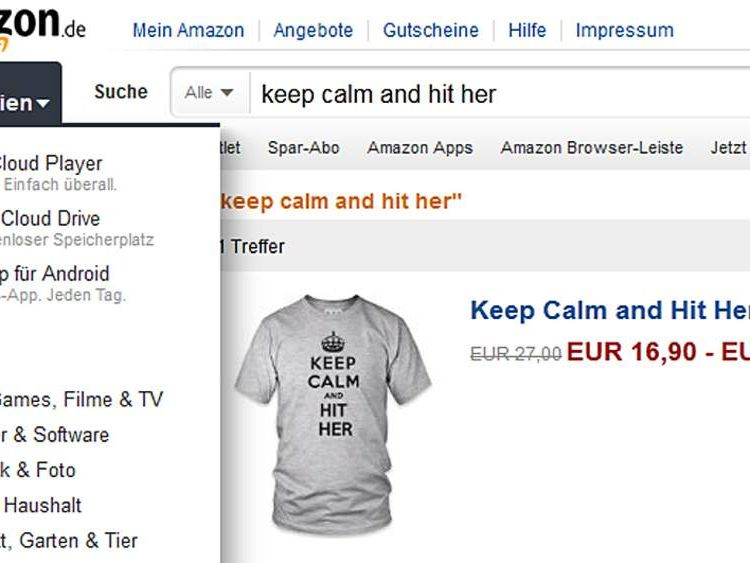 Keep Calm and Hit Her t shirts on Amazon in Germany