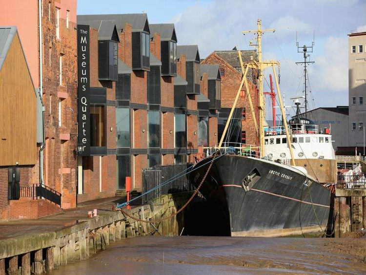 The quayside and old shipping warehouses in Hull