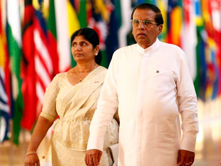 Maithripala Sirisena and his wife Jayanthi