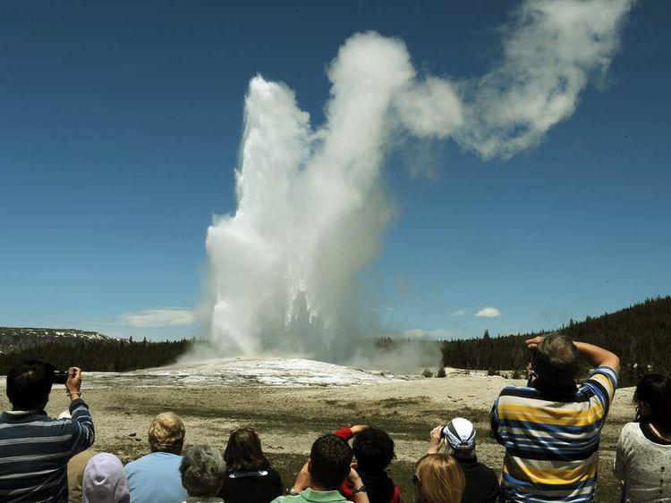 Yellowstone National Park's Old Faithful geyser