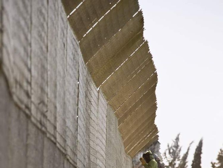 Border fence along Israel-Syria border in the Golan Heights