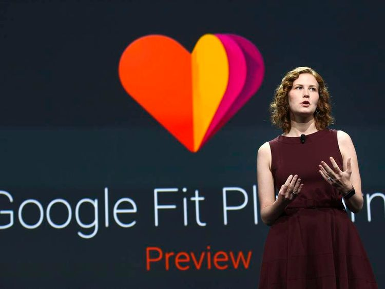 Ellie Powers announces the new Google Fit development platform during her keynote address at the Google I/O developers conference in San Francisco