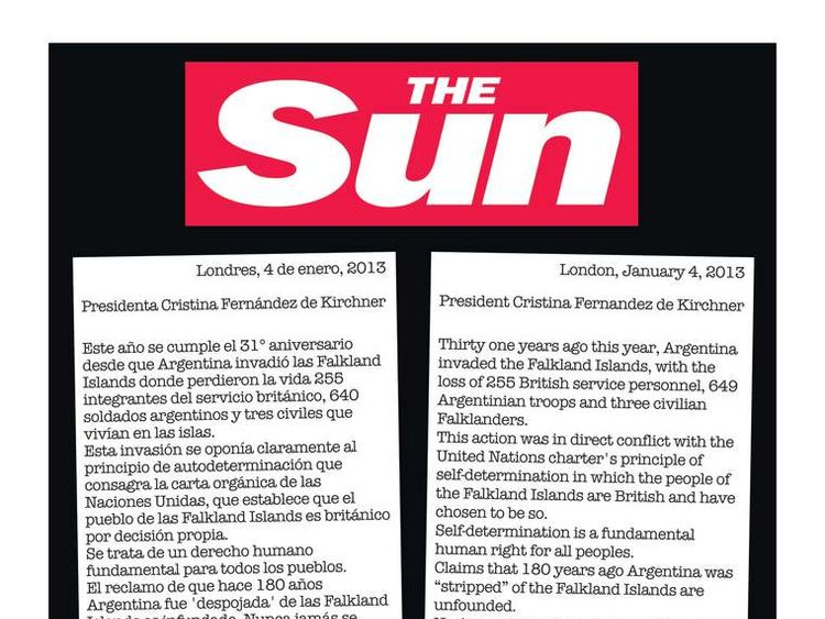 The Sun newspaper has taken out an advert in Argentinian newspapers