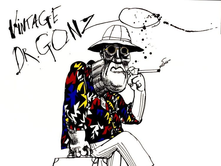 Illustration of Hunter S Thompson by Ralph Steadman For Fear & Loathing In Las Vegas