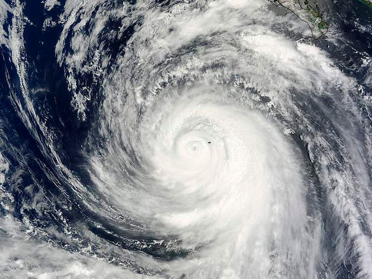 Hurricane Marie is pictured just west of Socorro Island, Mexico in the Eastern Pacific in this NASA satellite handout photo