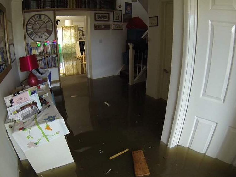 Flooded house in Moorland, Somerset