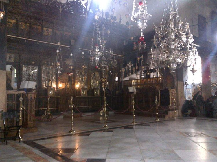 Inside Church of the Nativity in Bethlehem