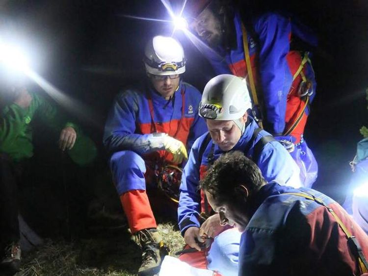 Rescuer attempt to free man stuck in a cave in Germany