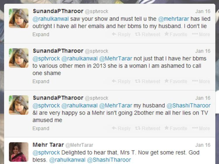 Sunanda Tharoor and Mehr Tarar's alleged Twitter row