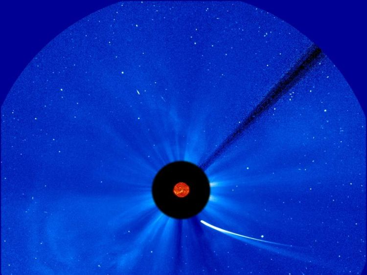 Comet Ison hurtles towards the Sun in this picture from ESA and NASA's Solar and Heliospheric Observatory, or SOHO