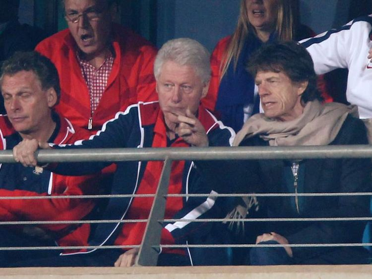 Mick Jagger with Bill Clinton