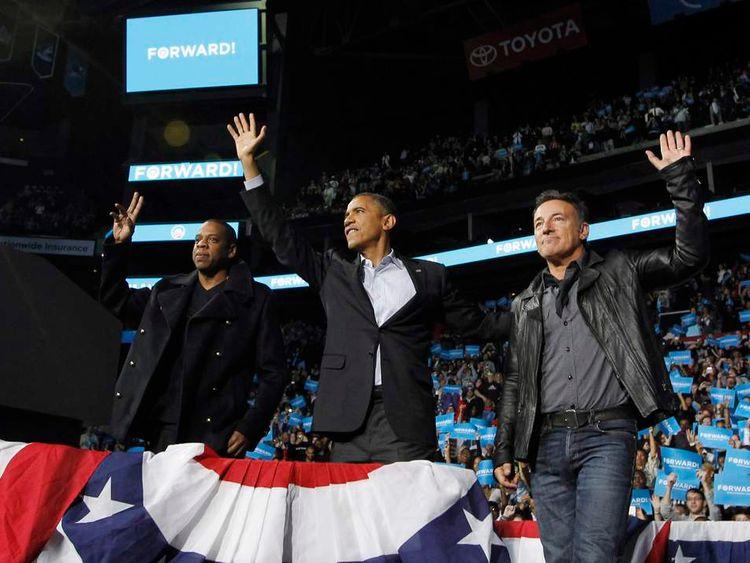 Jay-Z, Barack Obama and Bruce Springsteen in Columbus, Ohio.