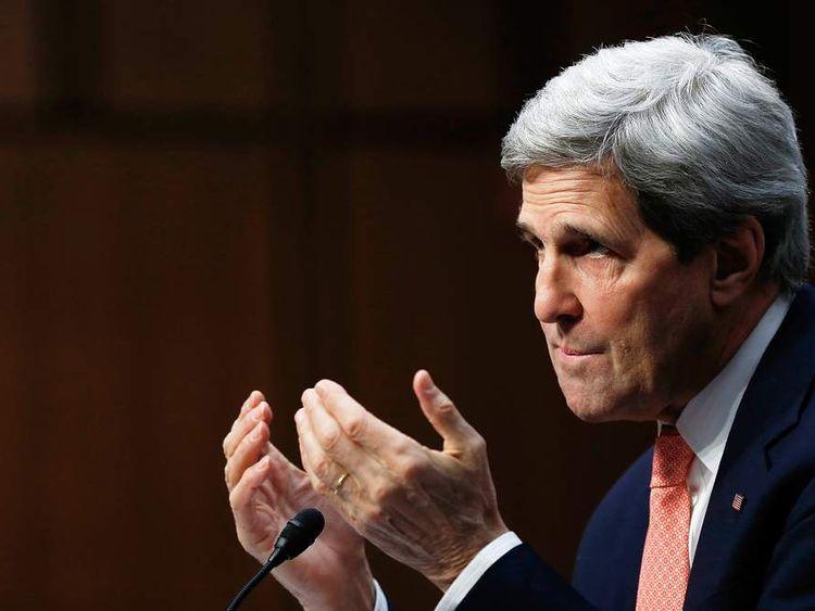 John Kerry testifying before a US Senate committee