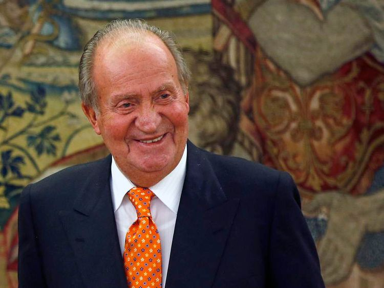 Spain's King Juan Carlos at the Zarzuela Palace in late May