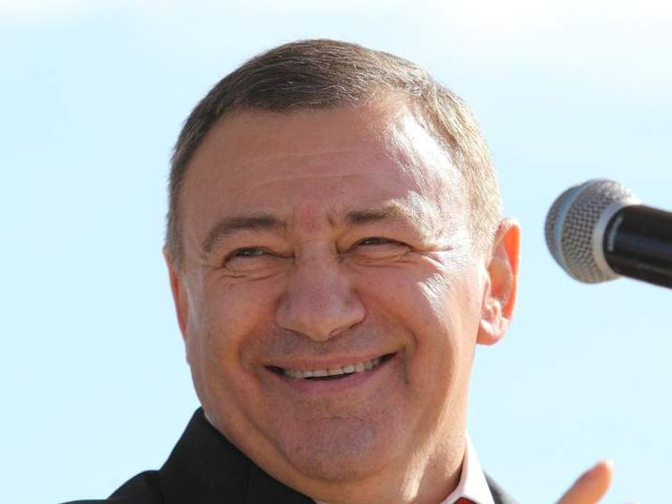 Russian billionaire Arkady Rotenberg attending a presentation in Saint Petersburg.