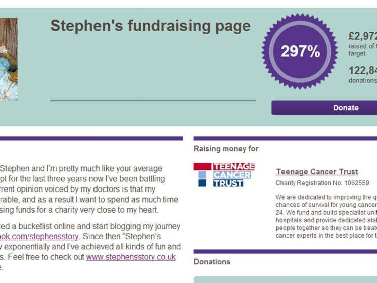 Stephen Sutton's JustGiving-Page