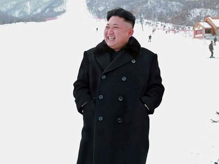 North Korean leader Kim Jong-Un on a visit to the country's first ski resort.