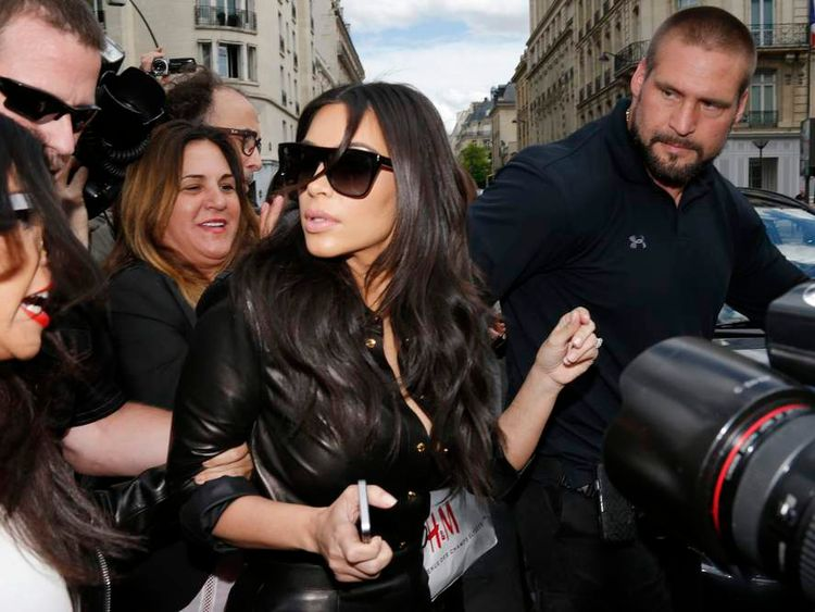 TV personality Kim Kardashian walks in the street in Paris