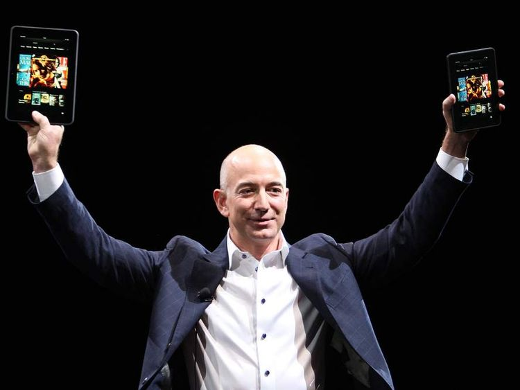 Amazon chief executive Jeff Bezos with the new device