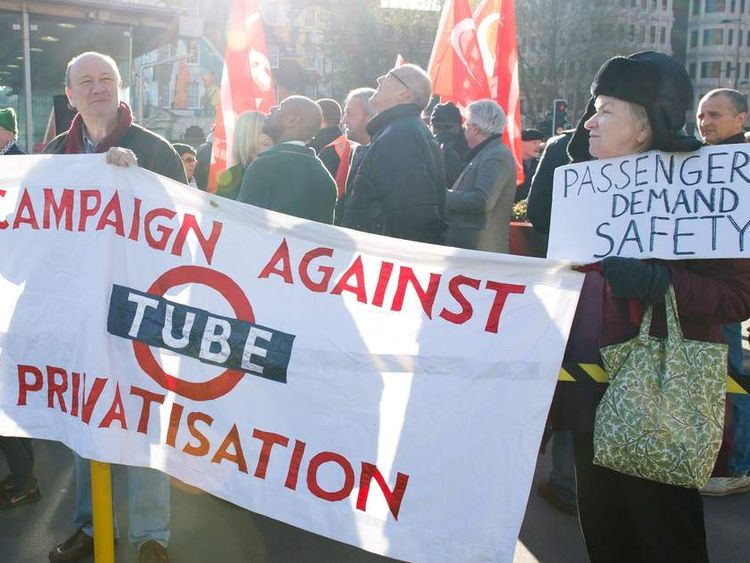 RMT members protest against Tube cuts on 25th anniversary of King's Cross fire