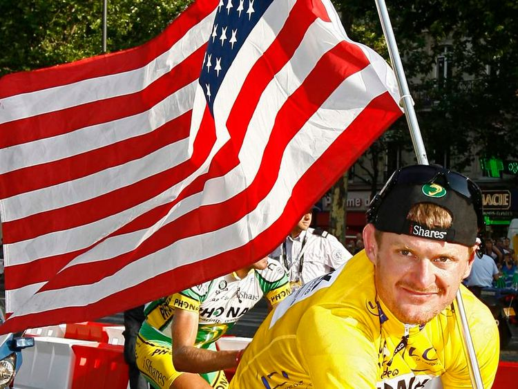 Floyd Landis after winnig the Tour de France in 2006