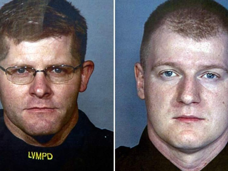 Photos of Las Vegas police officers Alyn Beck (left) and Igor Soldo, who were shot dead in a pizza restaurant