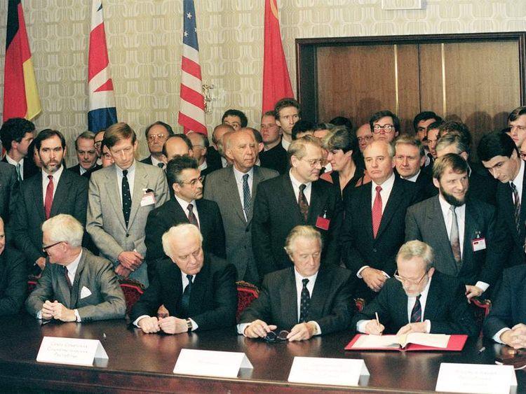 Soviet President Mikhail Gorbachev (3rd-