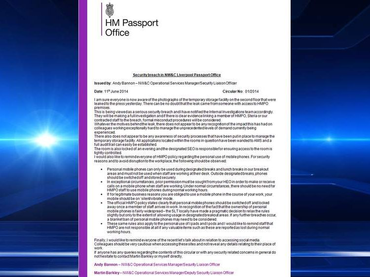 A Letter detailing security arrangement in reaction to the leaked passport office photos.