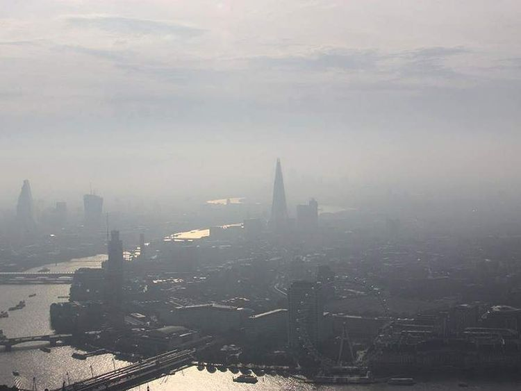 MPS Helicopters handout photo of early morning mist over central London