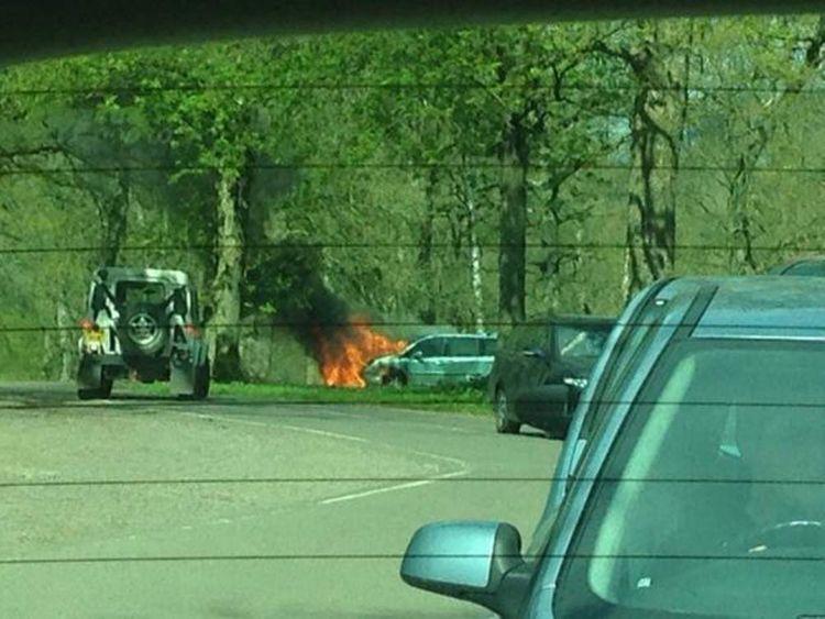 A car catches fire in Longleat Safari Park's lion enclosure