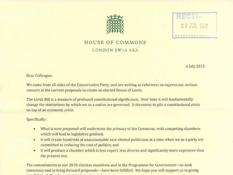 Lords reform letter