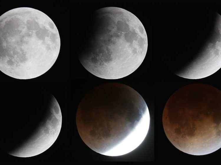 The various phases of a total lunar eclipse seen from Miami, Florida