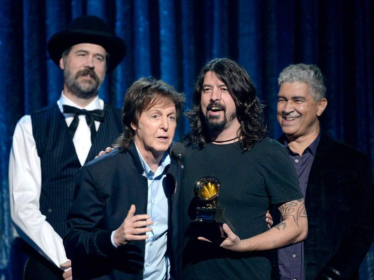 Musicians Krist Novoselic, Paul McCartney, Dave Grohl, and Pat Smear
